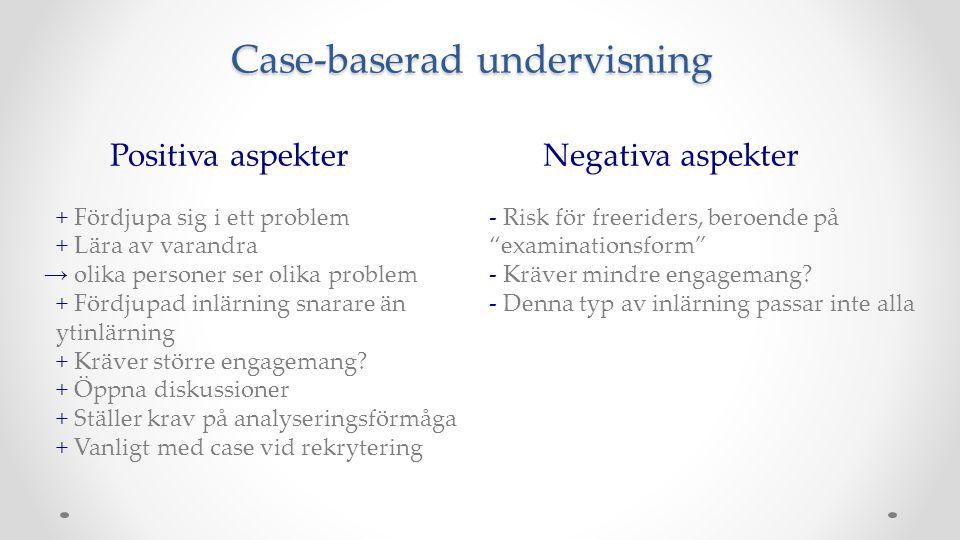 Case-baserad undervisning Positiva aspekter + Fördjupa sig i ett problem + Lära av varandra → olika personer ser olika problem + Fördjupad inlärning s