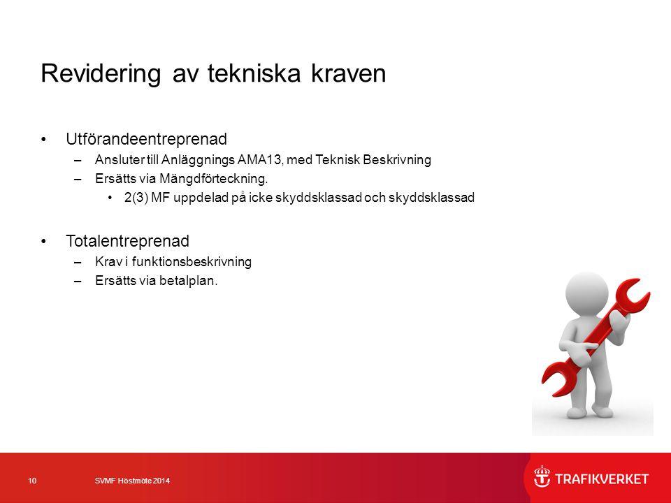 10 SVMF Höstmöte 2014 Revidering av tekniska kraven Utförandeentreprenad –Ansluter till Anläggnings AMA13, med Teknisk Beskrivning –Ersätts via Mängdf