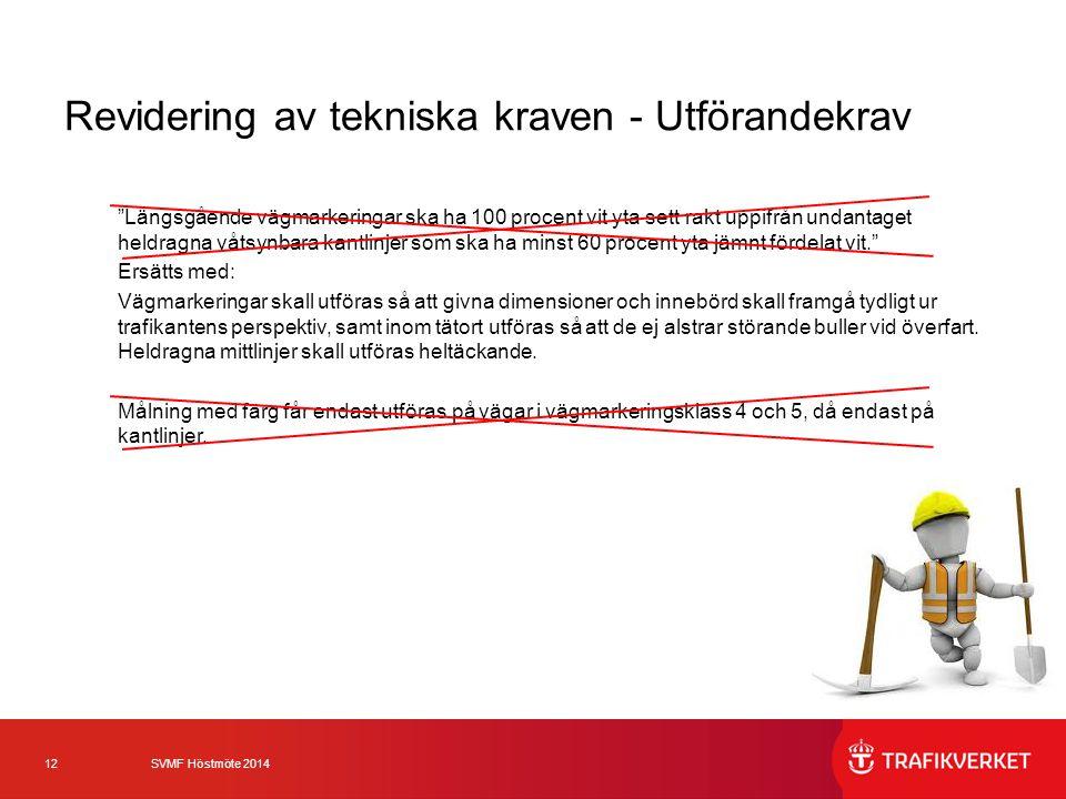 """12 SVMF Höstmöte 2014 Revidering av tekniska kraven - Utförandekrav """"Längsgående vägmarkeringar ska ha 100 procent vit yta sett rakt uppifrån undantag"""
