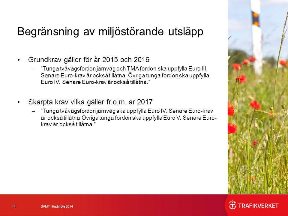 """14 SVMF Höstmöte 2014 Begränsning av miljöstörande utsläpp Grundkrav gäller för år 2015 och 2016 –""""Tunga tvåvägsfordon järnväg och TMA fordon ska uppf"""