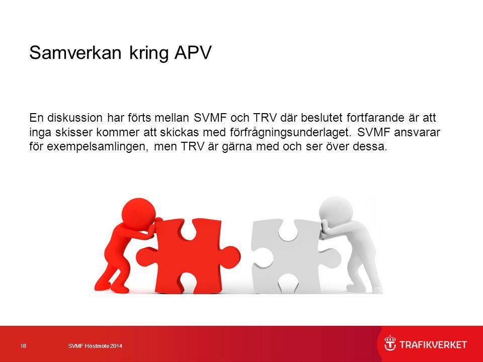 18 SVMF Höstmöte 2014 Samverkan kring APV En diskussion har förts mellan SVMF och TRV där beslutet fortfarande är att inga skisser kommer att skickas