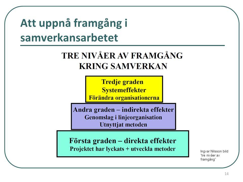 """Att uppnå framgång i samverkansarbetet 14 Ingvar Nilsson bild """"tre nivåer av framgång"""""""