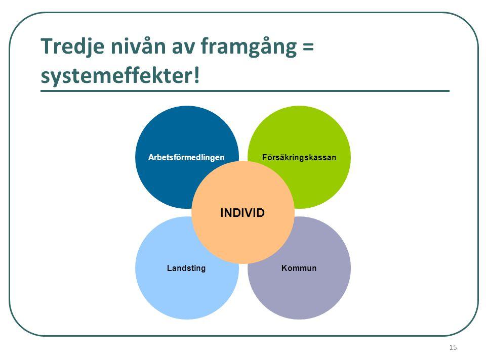 Tredje nivån av framgång = systemeffekter! LandstingKommun ArbetsförmedlingenFörsäkringskassan INDIVID 15