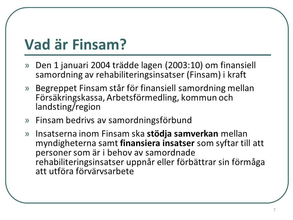 Vad är Finsam? »Den 1 januari 2004 trädde lagen (2003:10) om finansiell samordning av rehabiliteringsinsatser (Finsam) i kraft »Begreppet Finsam står