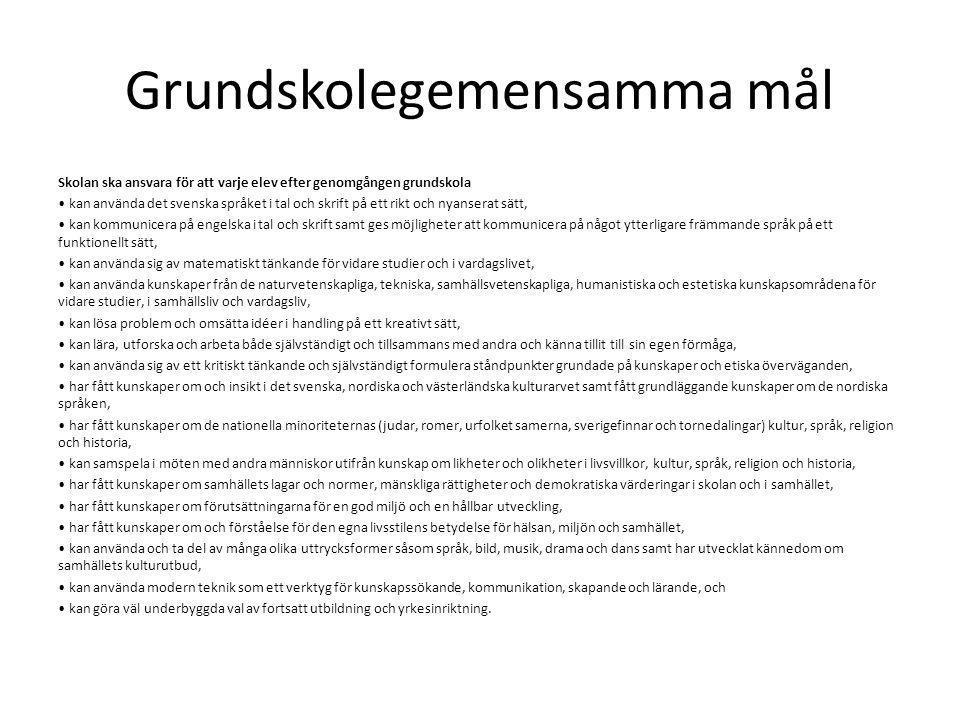 Grundskolegemensamma mål Skolan ska ansvara för att varje elev efter genomgången grundskola kan använda det svenska språket i tal och skrift på ett ri