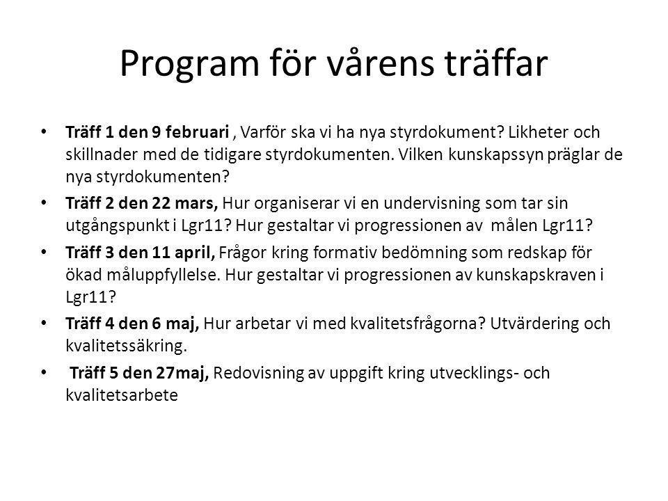 Program för vårens träffar Träff 1 den 9 februari, Varför ska vi ha nya styrdokument? Likheter och skillnader med de tidigare styrdokumenten. Vilken k