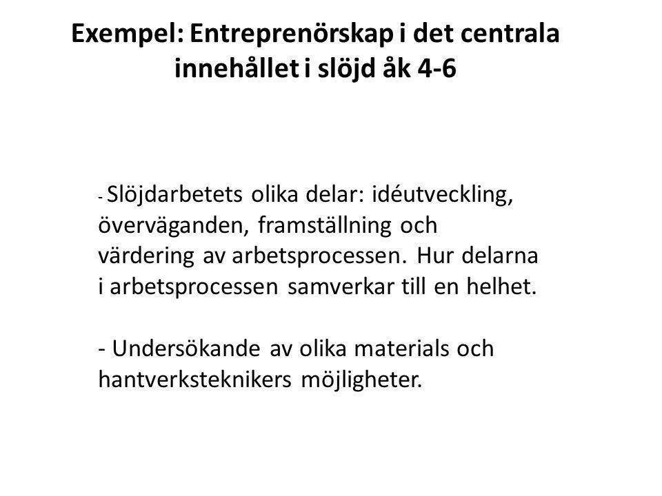 Exempel: Entreprenörskap i det centrala innehållet i slöjd åk 4-6 - Slöjdarbetets olika delar: idéutveckling, överväganden, framställning och värderin