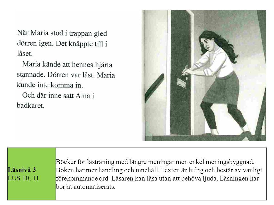 Läsnivå 3 LUS 10, 11 Böcker för lästräning med längre meningar men enkel meningsbyggnad. Boken har mer handling och innehåll. Texten är luftig och bes