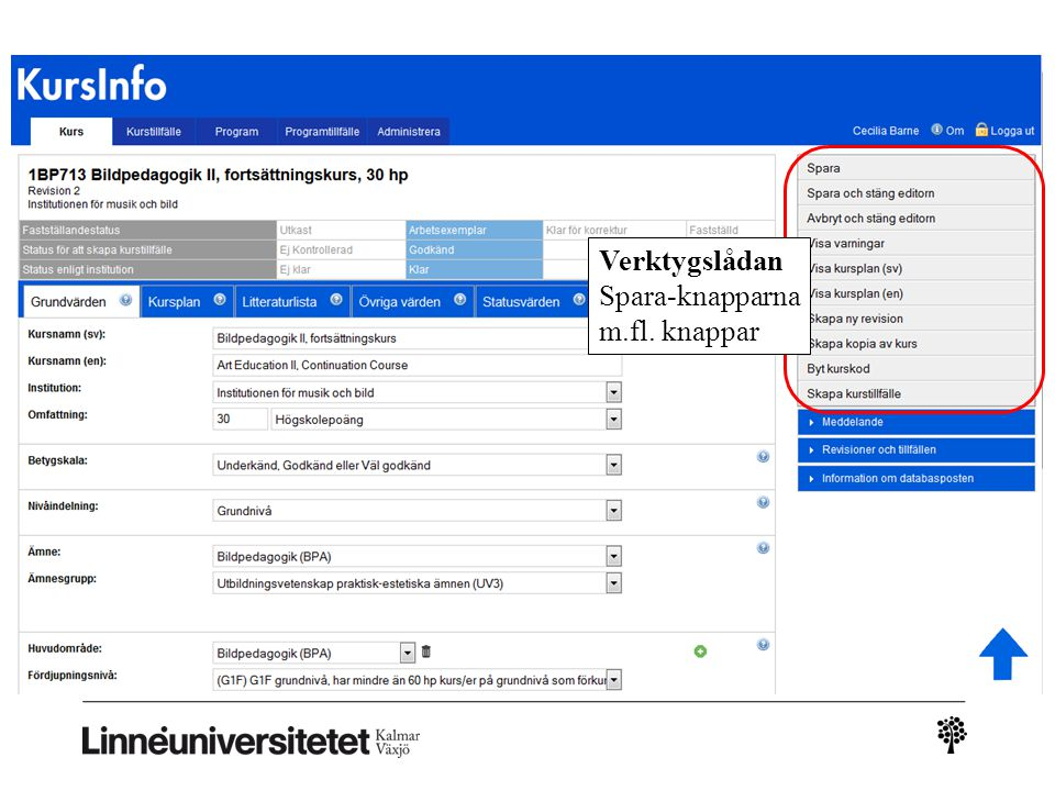 Kursinfo – ny leverans Verktygslådan Spara-knapparna m.fl. knappar