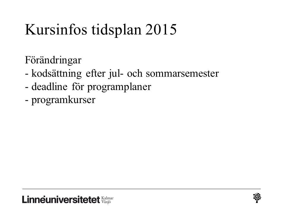 Kursinfos tidsplan 2015 Förändringar - kodsättning efter jul- och sommarsemester - deadline för programplaner - programkurser
