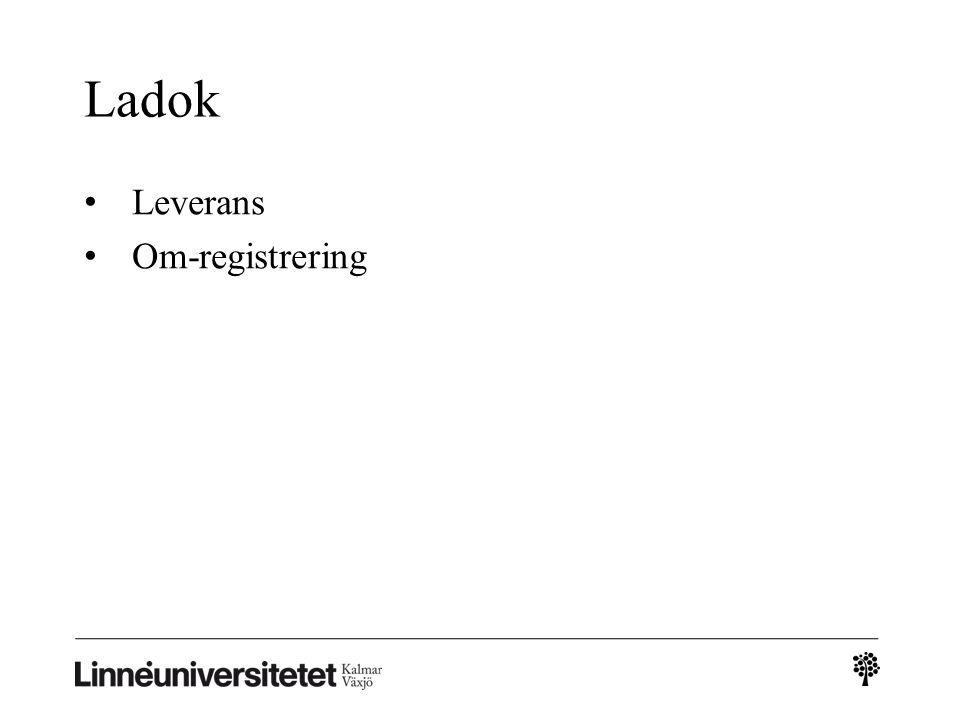 Ladok Leverans Om-registrering