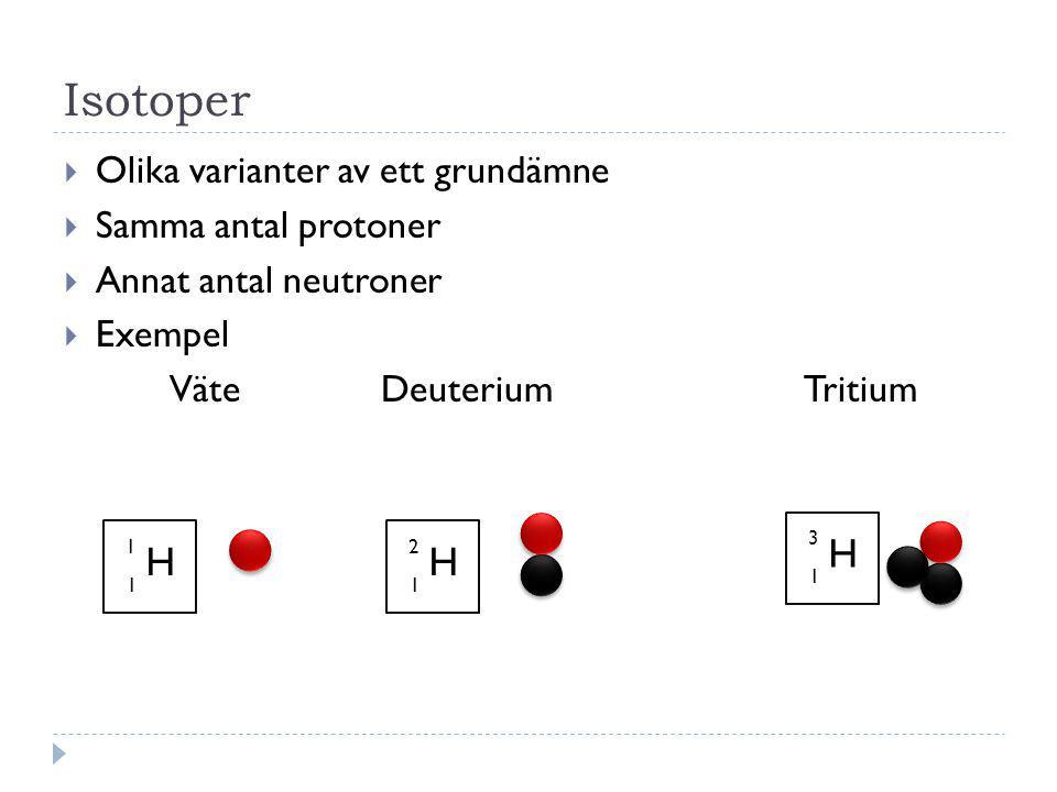 Isotoper  Olika varianter av ett grundämne  Samma antal protoner  Annat antal neutroner  Exempel Väte DeuteriumTritium H 1 1 H 2 1 H 3 1