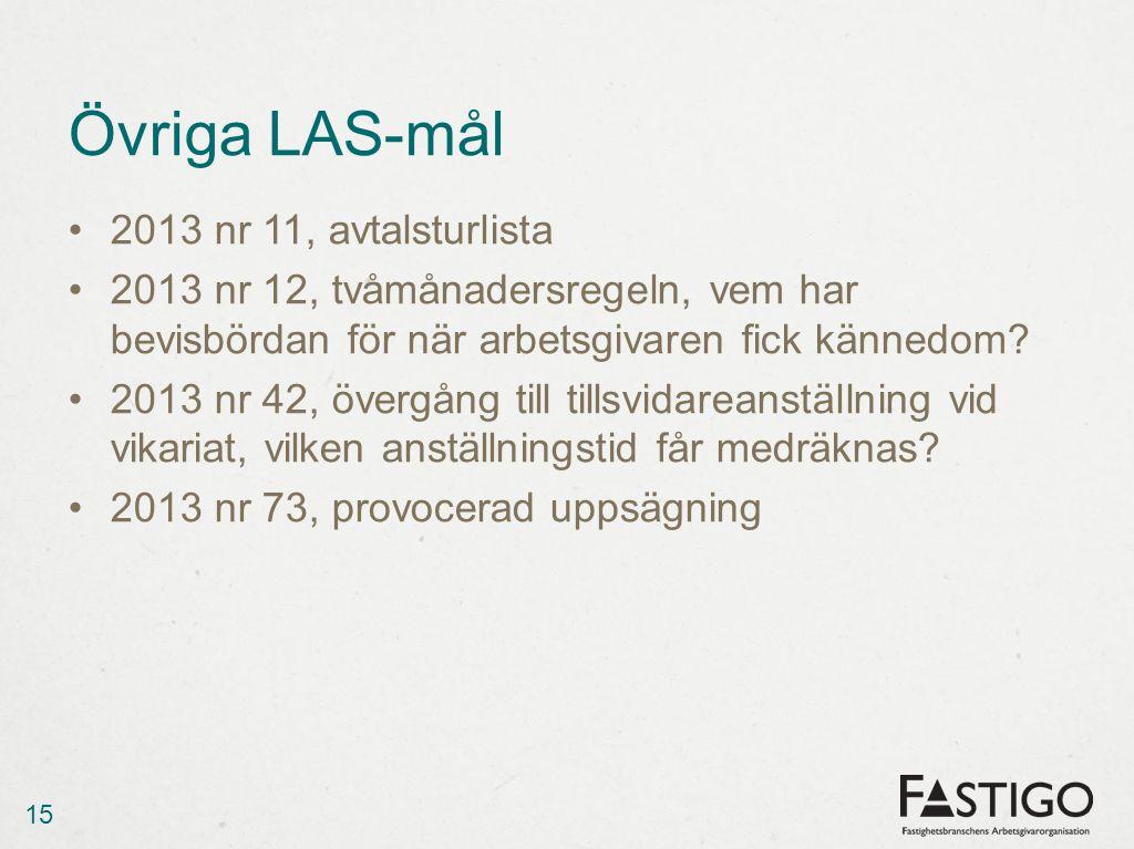 Övriga LAS-mål 2013 nr 11, avtalsturlista 2013 nr 12, tvåmånadersregeln, vem har bevisbördan för när arbetsgivaren fick kännedom? 2013 nr 42, övergång