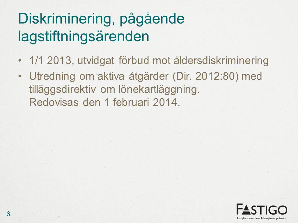 Diskriminering, pågående lagstiftningsärenden 1/1 2013, utvidgat förbud mot åldersdiskriminering Utredning om aktiva åtgärder (Dir. 2012:80) med tillä