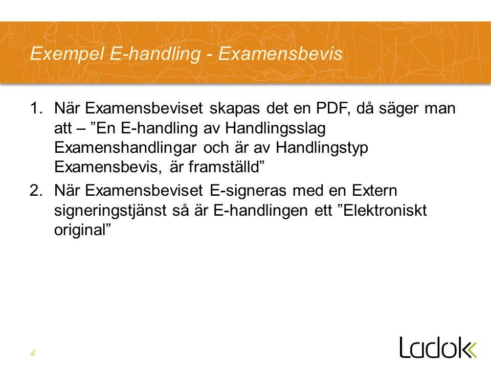 4 Exempel E-handling - Examensbevis 1.När Examensbeviset skapas det en PDF, då säger man att – En E-handling av Handlingsslag Examenshandlingar och är av Handlingstyp Examensbevis, är framställd 2.När Examensbeviset E-signeras med en Extern signeringstjänst så är E-handlingen ett Elektroniskt original