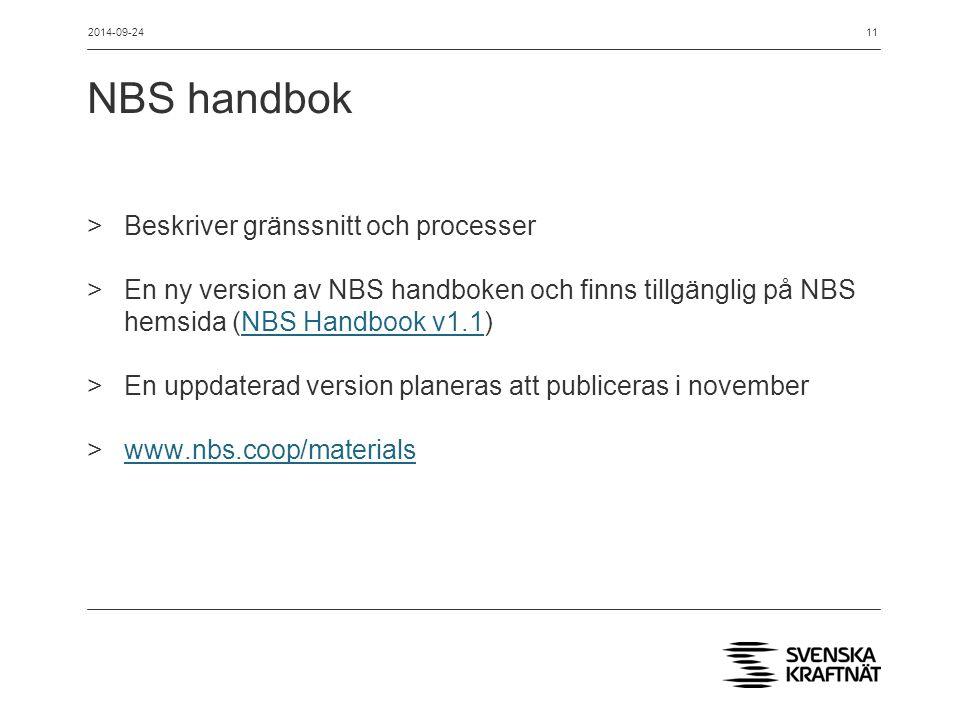 NBS handbok >Beskriver gränssnitt och processer >En ny version av NBS handboken och finns tillgänglig på NBS hemsida (NBS Handbook v1.1)NBS Handbook v1.1 >En uppdaterad version planeras att publiceras i november >www.nbs.coop/materialswww.nbs.coop/materials 2014-09-2411