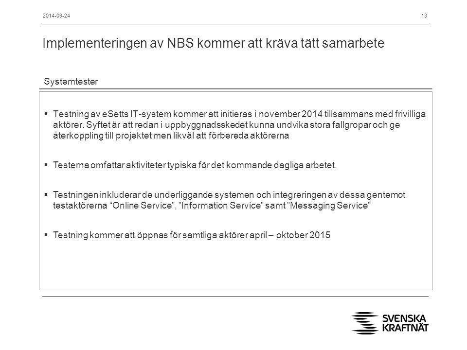 Implementeringen av NBS kommer att kräva tätt samarbete 13 Systemtester  Testning av eSetts IT-system kommer att initieras i november 2014 tillsammans med frivilliga aktörer.