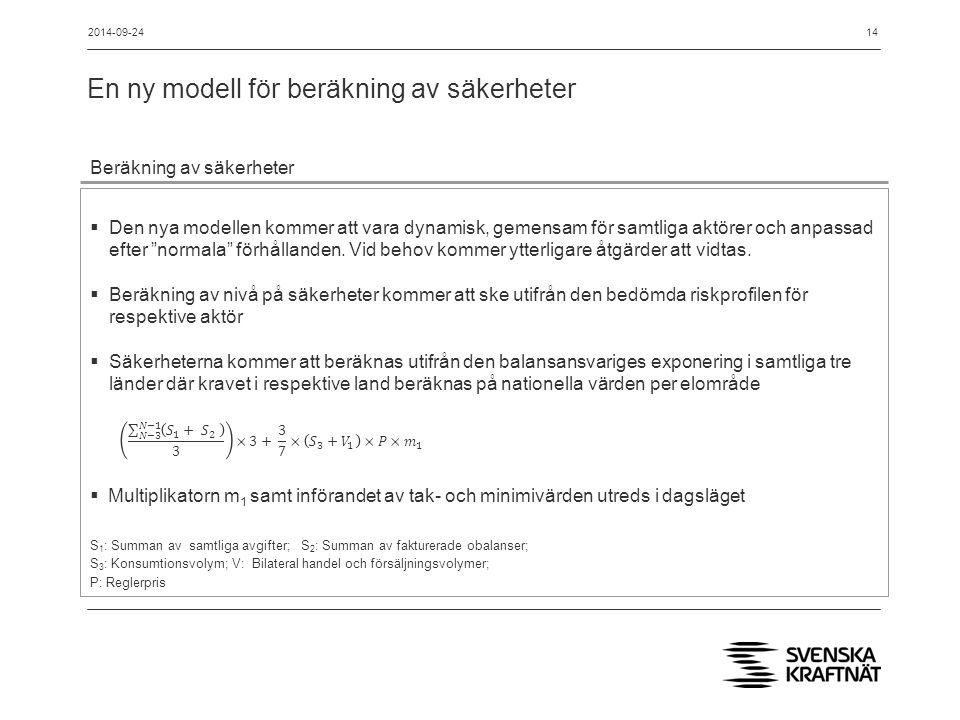 En ny modell för beräkning av säkerheter 14 Beräkning av säkerheter  Den nya modellen kommer att vara dynamisk, gemensam för samtliga aktörer och anpassad efter normala förhållanden.