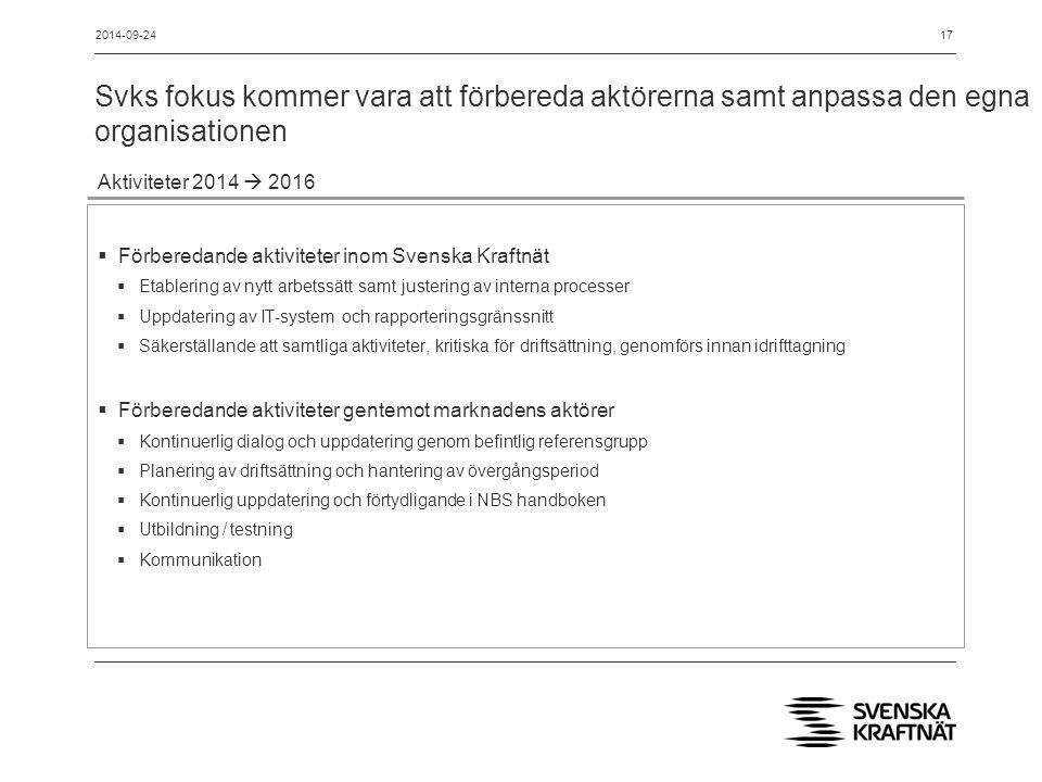 Svks fokus kommer vara att förbereda aktörerna samt anpassa den egna organisationen 17 Aktiviteter 2014  2016  Förberedande aktiviteter inom Svenska Kraftnät  Etablering av nytt arbetssätt samt justering av interna processer  Uppdatering av IT-system och rapporteringsgränssnitt  Säkerställande att samtliga aktiviteter, kritiska för driftsättning, genomförs innan idrifttagning  Förberedande aktiviteter gentemot marknadens aktörer  Kontinuerlig dialog och uppdatering genom befintlig referensgrupp  Planering av driftsättning och hantering av övergångsperiod  Kontinuerlig uppdatering och förtydligande i NBS handboken  Utbildning / testning  Kommunikation 2014-09-24