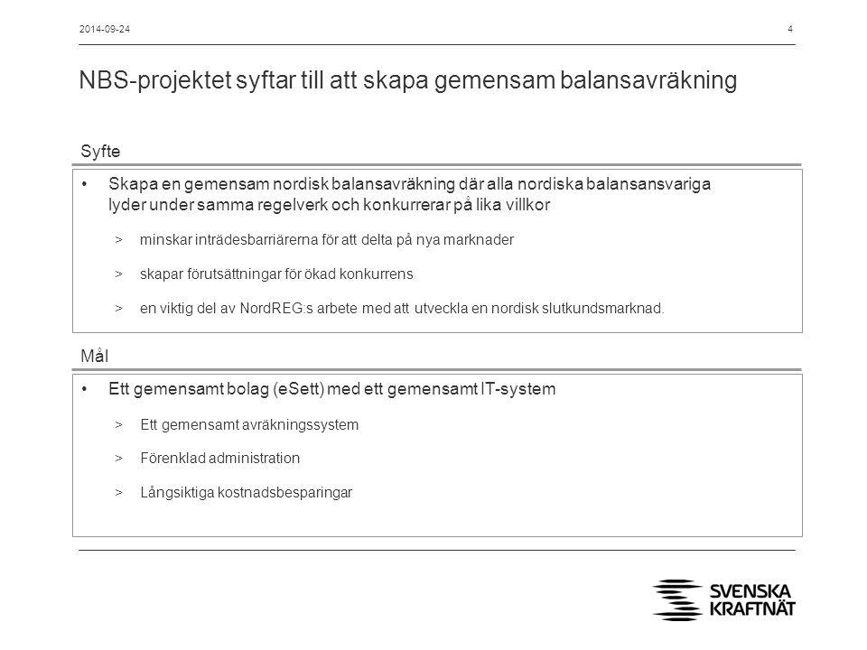 Kartläggning och harmonisering har skett succesivt och NBS driftsätts februari 2016 för Sverige (o Norge) 2002  2009 Kartläggning och utredningar inom NordEl 2011 Energinet.dk hoppar av NBS i avvaktan på slutgiltig marknadsmodell 2010 NBS projektet initieras (SvK, Statnett, Fingrid & Energinet.dk) 2012  2016 NBS implementering (stegvis 11/2015  2/2016) 5 Idrifttagning November 2015 Idrifttagning Februari 2016 2014-09-24