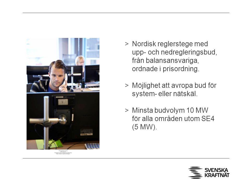 >Nordisk reglerstege med upp- och nedregleringsbud, från balansansvariga, ordnade i prisordning.