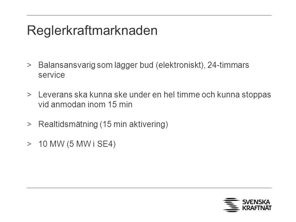 Reglerkraftmarknaden >Balansansvarig som lägger bud (elektroniskt), 24-timmars service >Leverans ska kunna ske under en hel timme och kunna stoppas vid anmodan inom 15 min >Realtidsmätning (15 min aktivering) >10 MW (5 MW i SE4)