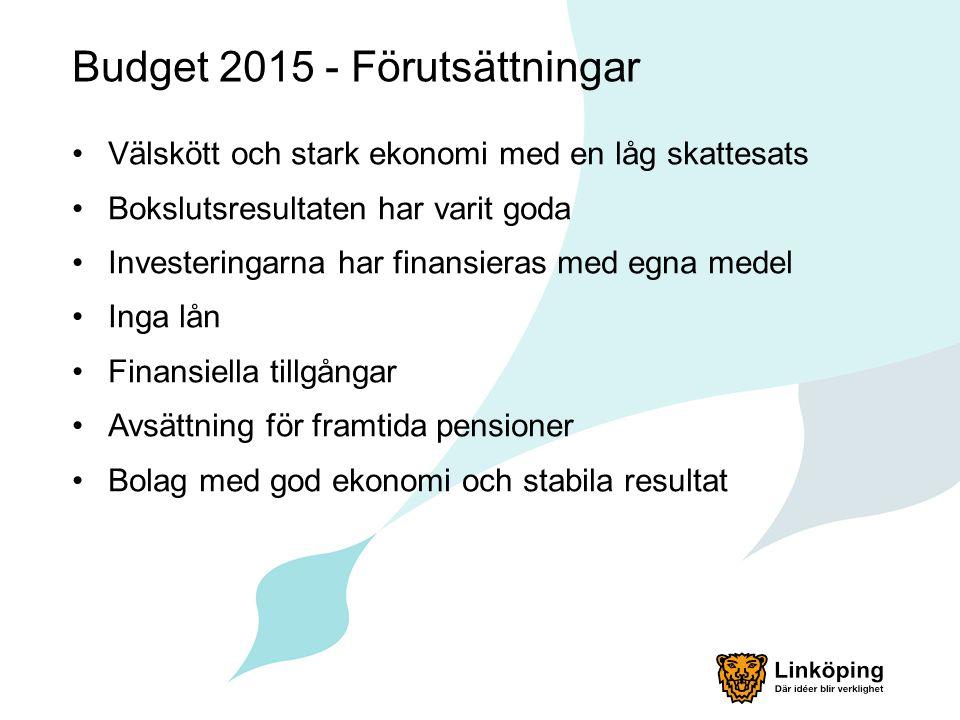 Budget 2015 - Förutsättningar Välskött och stark ekonomi med en låg skattesats Bokslutsresultaten har varit goda Investeringarna har finansieras med e