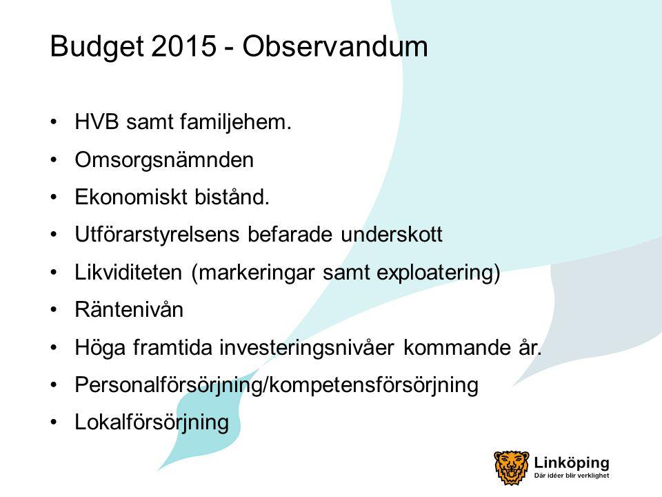 Budget 2015 - Observandum HVB samt familjehem. Omsorgsnämnden Ekonomiskt bistånd. Utförarstyrelsens befarade underskott Likviditeten (markeringar samt