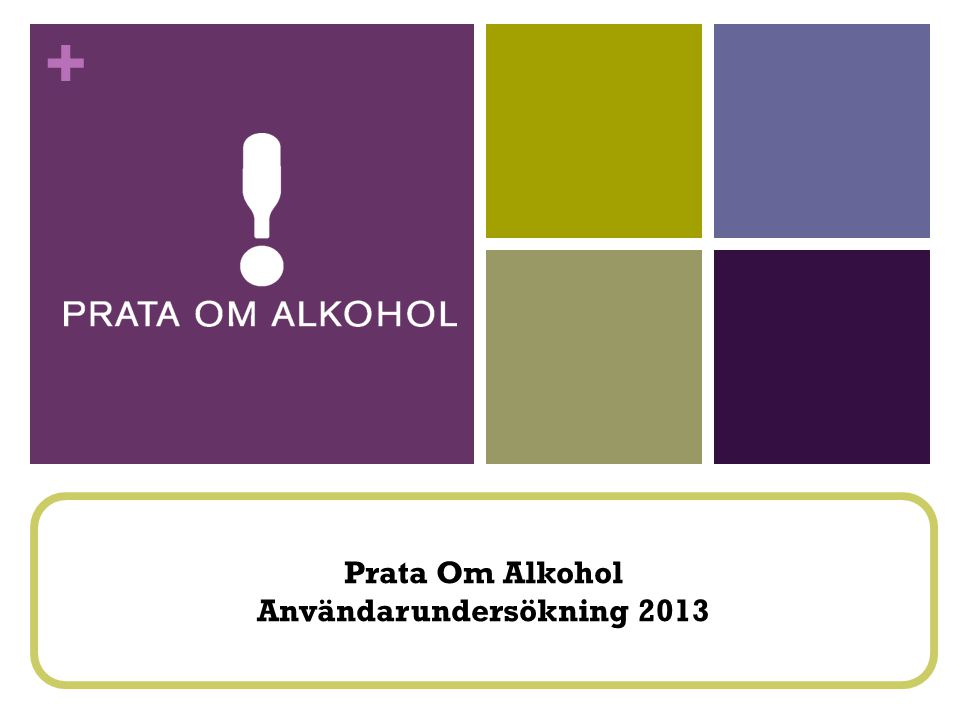+ Prata Om Alkohol Användarundersökning 2013