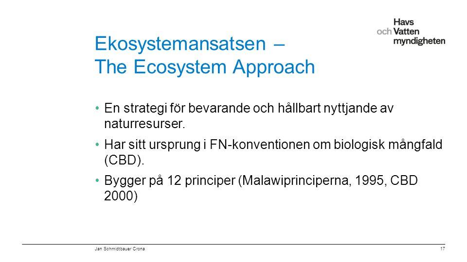 """För att ändra/uppdatera/ta bort """"Presentationsnamn"""" och """"Namn"""" i foten, gå in på """"Infoga - Sidhuvud/sidfot"""" Ekosystemansatsen – The Ecosystem Approach"""