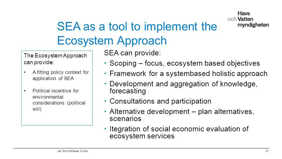 """För att ändra/uppdatera/ta bort """"Presentationsnamn"""" och """"Namn"""" i foten, gå in på """"Infoga - Sidhuvud/sidfot"""" SEA as a tool to implement the Ecosystem A"""