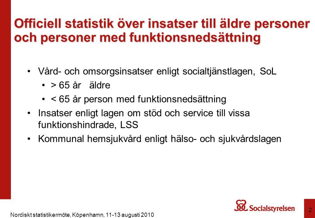 Nordiskt statistikermöte, Köpenhamn, 11-13 augusti 2010 2 Officiell statistik över insatser till äldre personer och personer med funktionsnedsättning