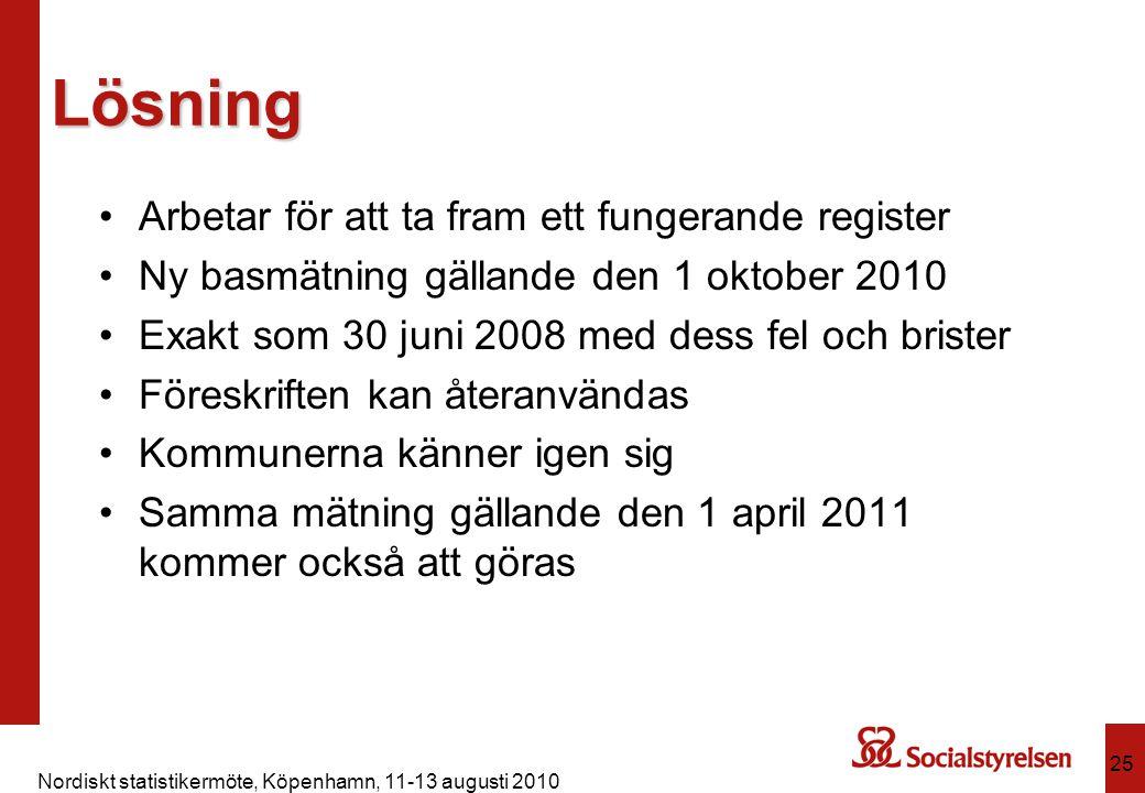 Nordiskt statistikermöte, Köpenhamn, 11-13 augusti 2010 25 Lösning Arbetar för att ta fram ett fungerande register Ny basmätning gällande den 1 oktobe
