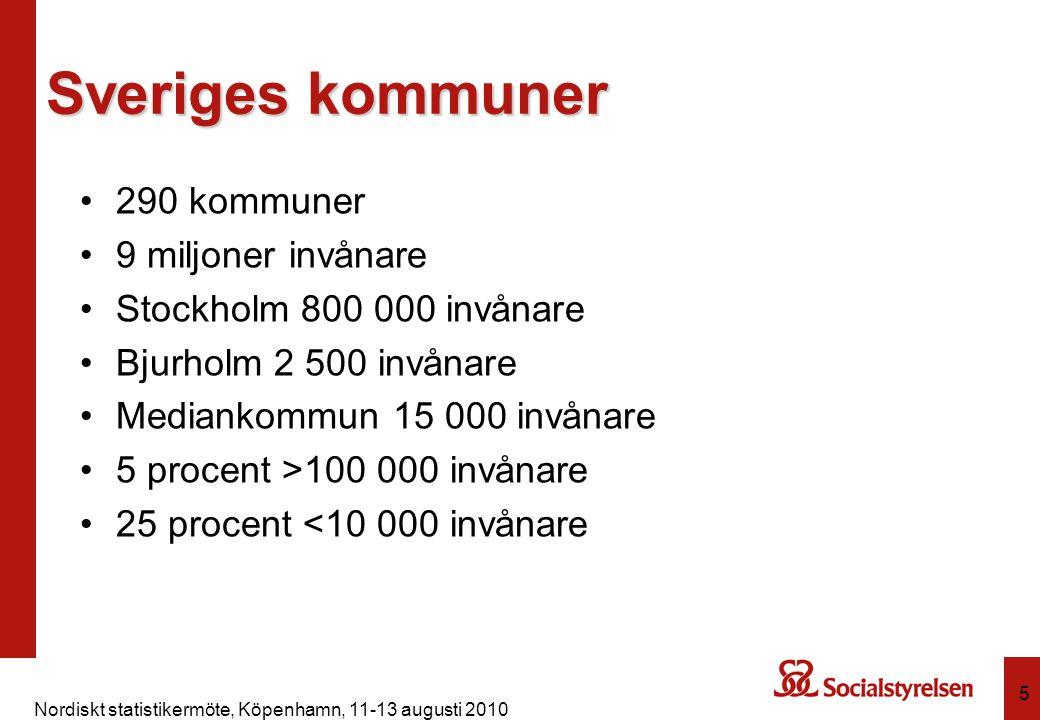 Nordiskt statistikermöte, Köpenhamn, 11-13 augusti 2010 6 Fördelar individstatistik Bättre kvalitet dubbletter antal insatser hur länge Större möjligheter flexiblare tabeller sambearbetningar bättre analyser enklare uppgiftslämnande