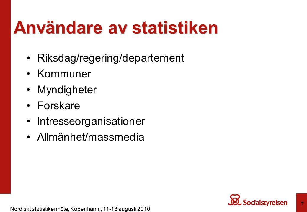 Nordiskt statistikermöte, Köpenhamn, 11-13 augusti 2010 8 Reglering Lagen (2001:99) om den officiella statistiken Förordningen (2001:100) om den officiella statistiken Förordning (1981:1370) om skyldighet för socialnämnderna att lämna statistiska uppgifter Socialstyrelsens föreskrifter (SOSFS 2007:6) om socialnämndernas skyldighet att lämna uppgifter för statistiska ändamål