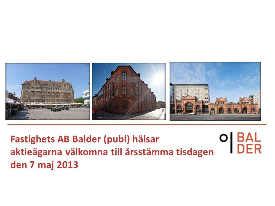 2 Balder i korthet Noterad 2005 56 % kommersiella fastigheter 44 % bostadsfastigheter Fastighetsvärde ca 22,5 Mdkr 1 540 tkvm, 430 fastigheter, 1,9 Mdkr i hyresvärde Ekonomisk uthyrningsgrad 93 % Antal anställda 221 Både stam- och preferensaktier noterade på NASDAQ OMX Stockholm Börsvärde ca 9 Mdkr, ca 13 500 aktieägare Fastighetsvärde, Mkr Belåningsgrad fastigheter