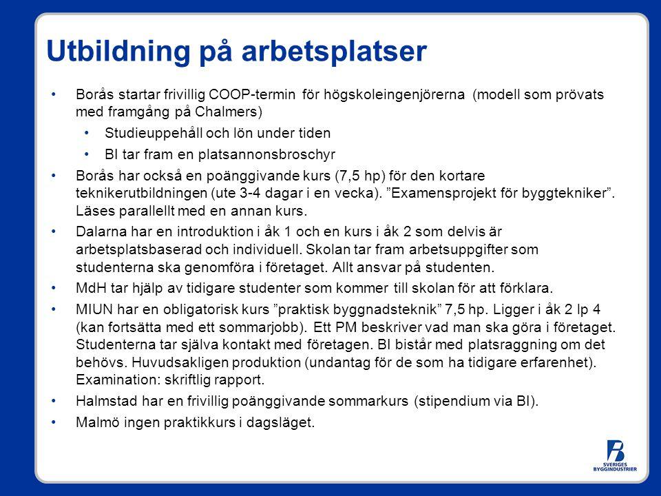 Utbildning på arbetsplatser Borås startar frivillig COOP-termin för högskoleingenjörerna (modell som prövats med framgång på Chalmers) Studieuppehåll