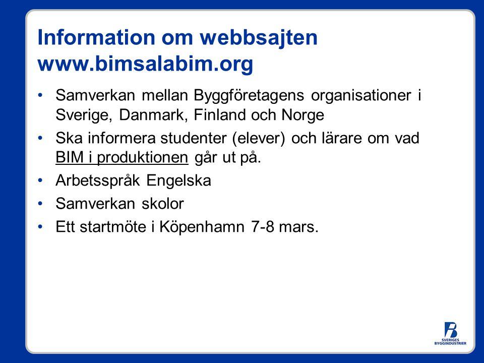 Information om webbsajten www.bimsalabim.org Samverkan mellan Byggföretagens organisationer i Sverige, Danmark, Finland och Norge Ska informera studen