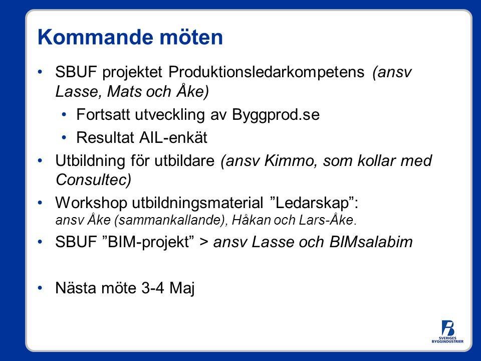 Kommande möten SBUF projektet Produktionsledarkompetens (ansv Lasse, Mats och Åke) Fortsatt utveckling av Byggprod.se Resultat AIL-enkät Utbildning fö