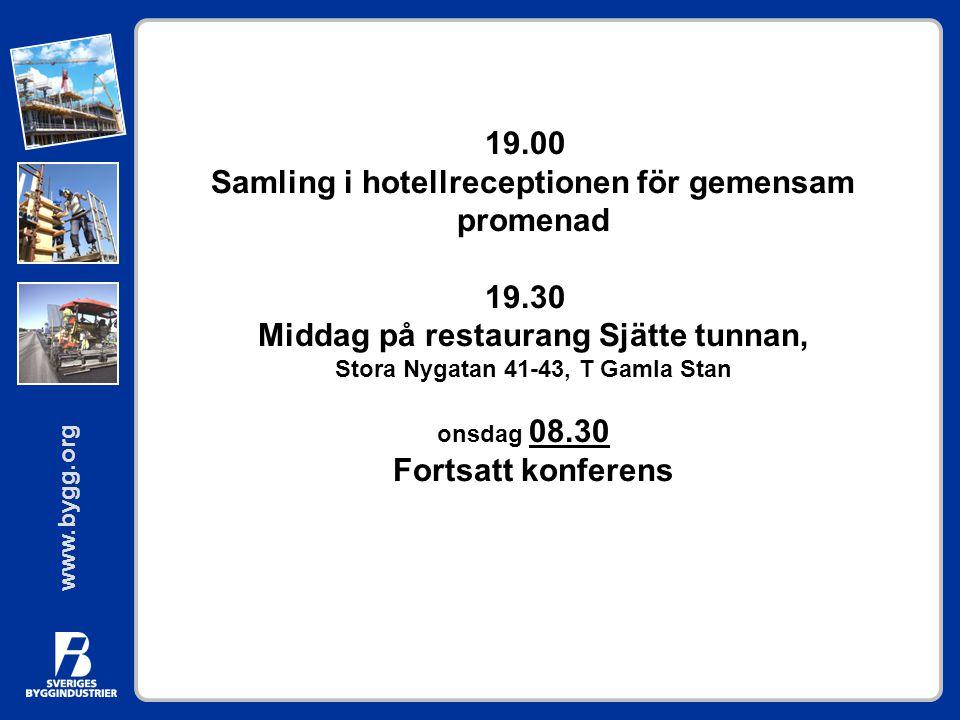 www.bygg.org 19.00 Samling i hotellreceptionen för gemensam promenad 19.30 Middag på restaurang Sjätte tunnan, Stora Nygatan 41-43, T Gamla Stan onsda