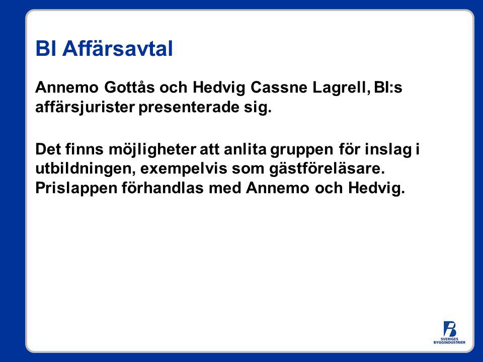 BI Affärsavtal Annemo Gottås och Hedvig Cassne Lagrell, BI:s affärsjurister presenterade sig. Det finns möjligheter att anlita gruppen för inslag i ut