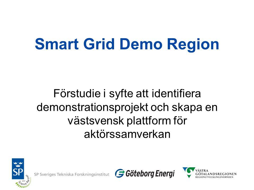 Smart Grid Demo Region Förstudie i syfte att identifiera demonstrationsprojekt och skapa en västsvensk plattform för aktörssamverkan