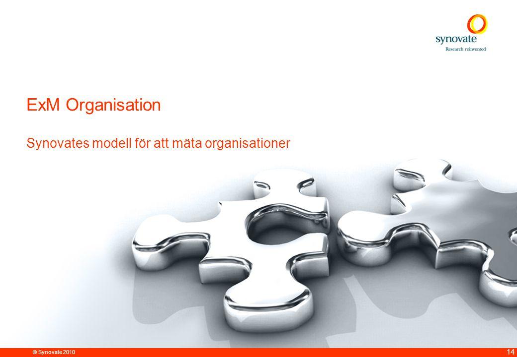 © Synovate 2010 14 ExM Organisation Synovates modell för att mäta organisationer