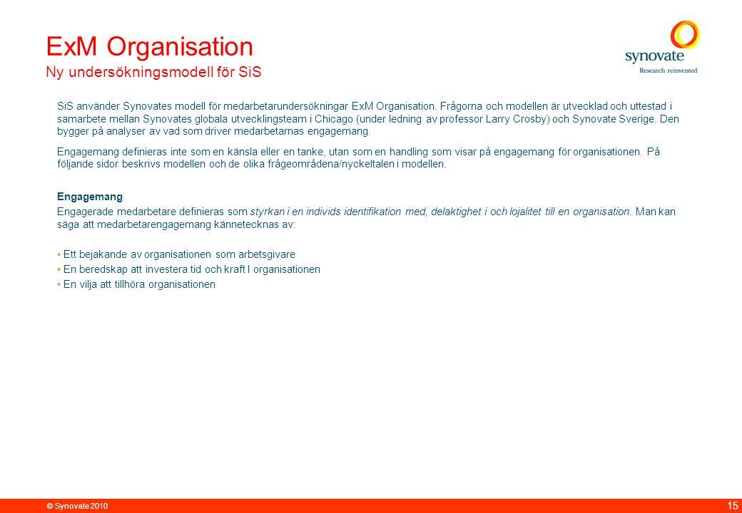 © Synovate 2010 15 ExM Organisation Ny undersökningsmodell för SiS SiS använder Synovates modell för medarbetarundersökningar ExM Organisation.