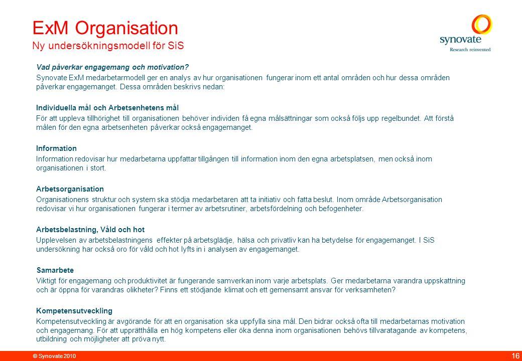 © Synovate 2010 16 ExM Organisation Ny undersökningsmodell för SiS Vad påverkar engagemang och motivation.