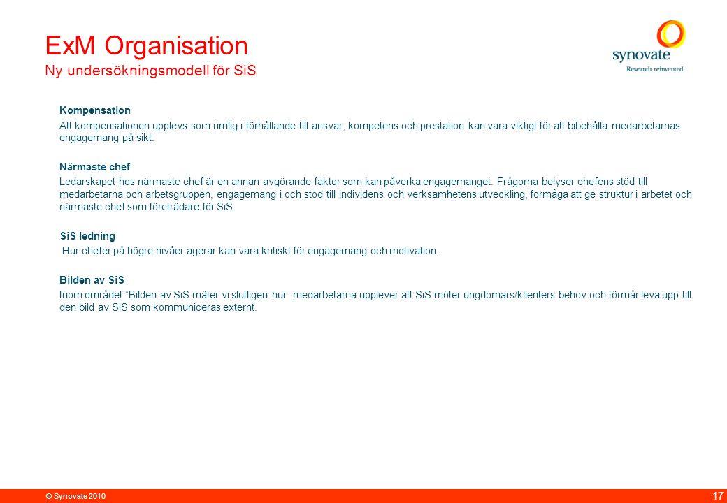 © Synovate 2010 17 Kompensation Att kompensationen upplevs som rimlig i förhållande till ansvar, kompetens och prestation kan vara viktigt för att bibehålla medarbetarnas engagemang på sikt.