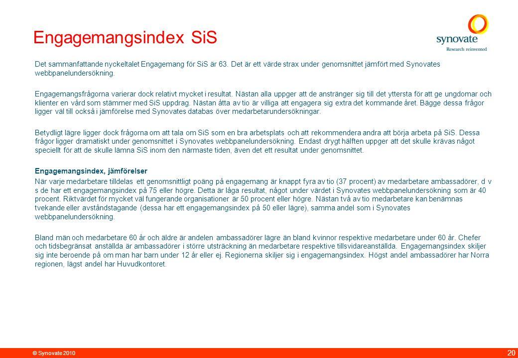 © Synovate 2010 20 Engagemangsindex SiS Det sammanfattande nyckeltalet Engagemang för SiS är 63.