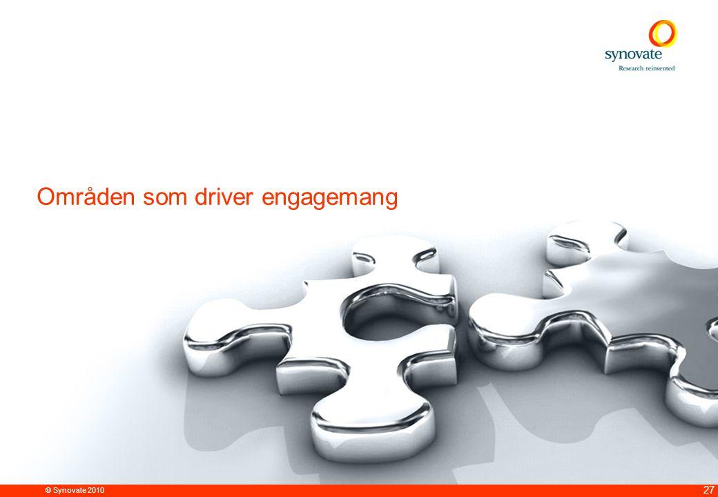 © Synovate 2010 27 Områden som driver engagemang