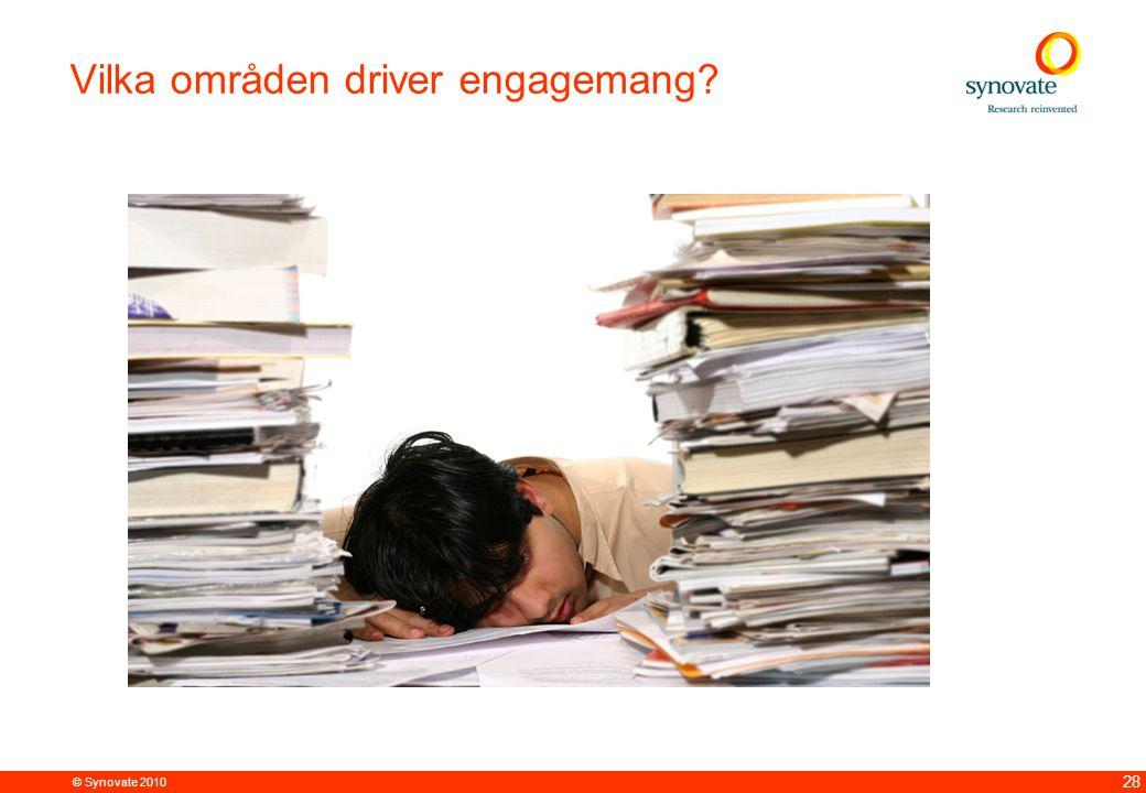 © Synovate 2010 28 Vilka områden driver engagemang?