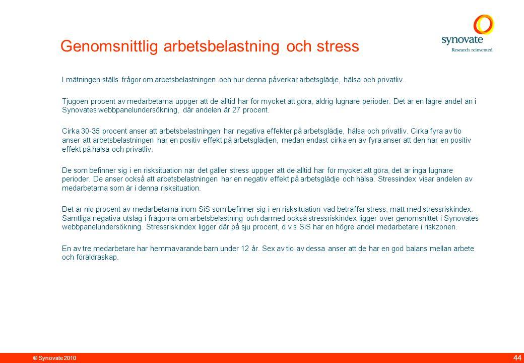 © Synovate 2010 44 Genomsnittlig arbetsbelastning och stress I mätningen ställs frågor om arbetsbelastningen och hur denna påverkar arbetsglädje, hälsa och privatliv.